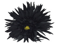 Black daisy double hair flower clips