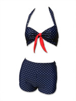 Dots small navy blue bikini pin up