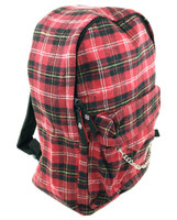 Black and red check rucksack