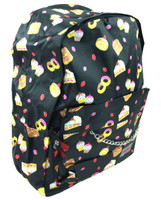 Cakes and strawberry on black mix rucksack