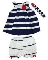 Baby kid set - Stripe Navy Blue