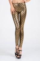 Front - golden metallic scales - clubbing alternative leggings