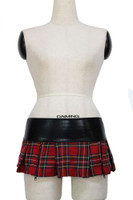 Zipper plaid red scotch checker punk style skirt