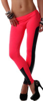 Faux Leather Trim Red Stretch - Spandex Leggings