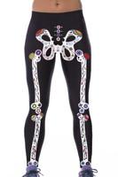 Front - Artistic skeleton bones print sport yoga pants