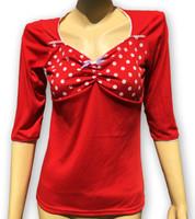 Red big white dots bow fashion