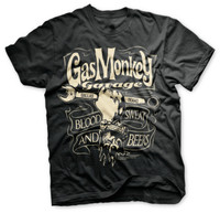 The black Gas Monkey T-Shirt with a monkey wrench.