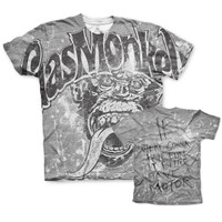 The famous Gas Monkey Garage logo in grudge worn out grey t-shirt.
