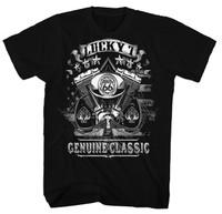 Genuine Classic Lucky 7 Route 66 Hotrod Men T-Shirt (Black)