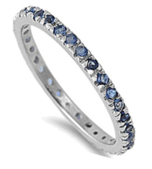 Sterling Silver Blue Sapphire Eternity Stackable CZ Ring