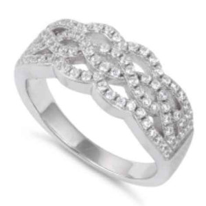Sterling Silver Wavey CZ Ring