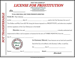 License for Prostitution-FREE SHIPPING