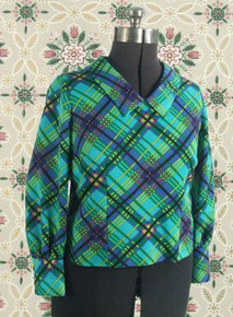 1970s Aqua print blouse