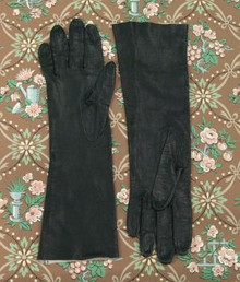 Long black kid leather gloves