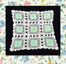 Mint julip green & white doily