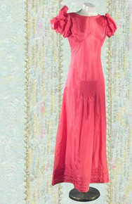 1930s Dark coral evening gown