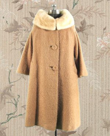1960s wool boucle camel colored coat