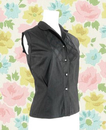 1960s black sleeveless blouse