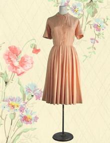 Peachy silk damask shirtwaist 1950s
