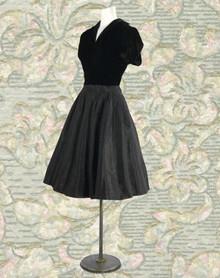Classic 1940s velvet and taffeta dress