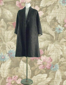 1950s Black jacquard swing coat