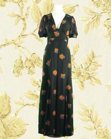 1970s Black chiffon print backless gown
