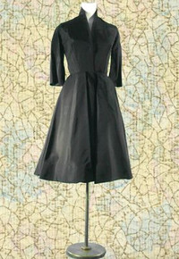 1940s Full taffeta black dress