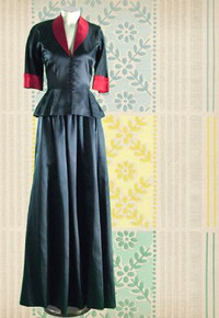 1940s Steel blue evening gown