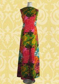 1970s Asian inspired maxi dress
