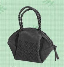1940s black woven nylon handbag