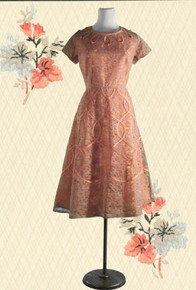 1950s Taffeta & lace party dress