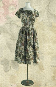 1950s Glazed cotton day dress
