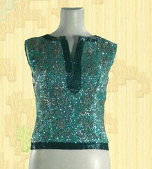1960s Sassy Sequined Turquoise Top