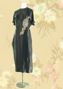 1940s Satin evening dress with beads