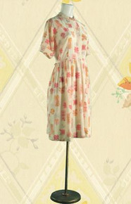 1950s Cotton floral day dress