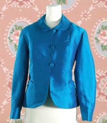 1960s Electric Blue Silk Shantung Blazer