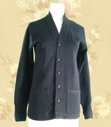 1940s Navy blue knit sweater-coat