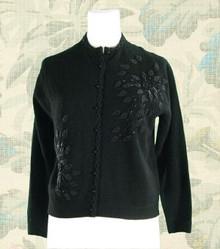 1950s black lambswool-angora beaded sweater
