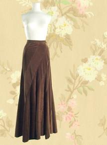 1970s Ellen Tracy velveteen swing skirt