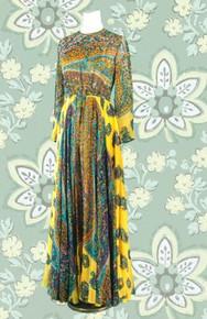 Late 60s garden of eden print long dress
