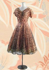 Black lace over taffeta 1950s dress