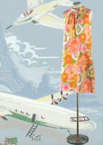 Late 60s cotton print trapeze dress