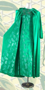 Evening dress with coat - 1950s green satin jacquard