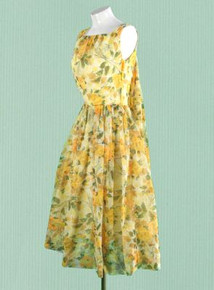 1960s Mad Men sheer yellow floral dress