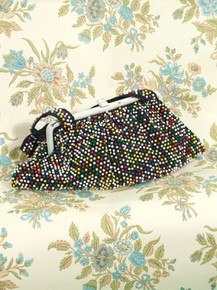 1940s multi-colored beaded purse