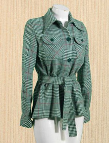Belted plaid jacket from College Town