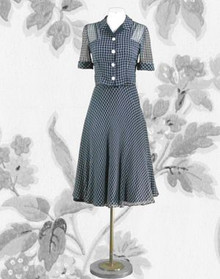 Lovely 1940s navy and white dress