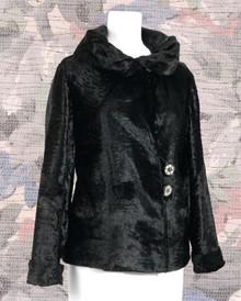 1930s black panne velvet coat