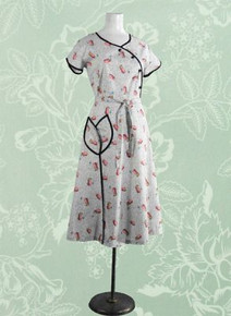 1940s Cotton print house dress