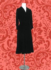Stunning black silk velvet late 30s dress
